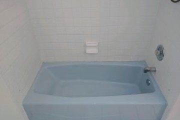 Blue bathtub needed refinishing